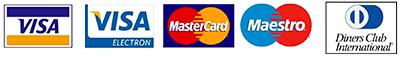 VISA, MasterCard, Meastro